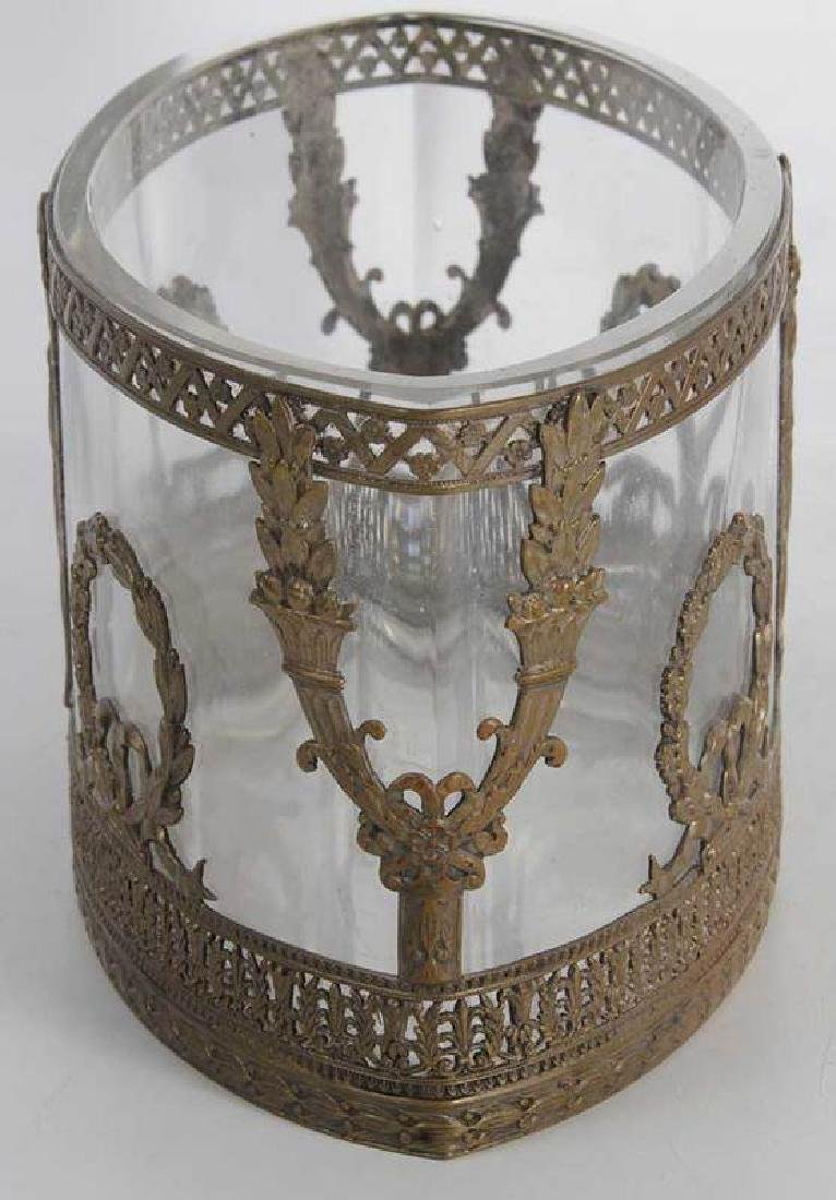 Three Neoclassical Bronze Mounted Crystal Bowls - 4