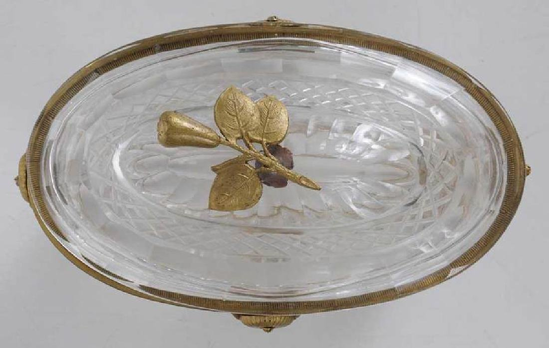 Three Neoclassical Bronze Mounted Crystal Bowls - 9