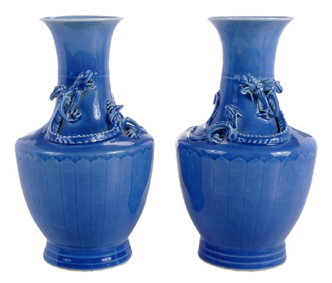 Pair of Chinese Blue Glazed Vases With Chilongs