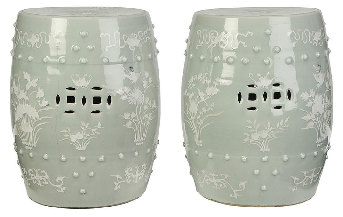 Pair Chinese Celadon Porcelain Garden Seats