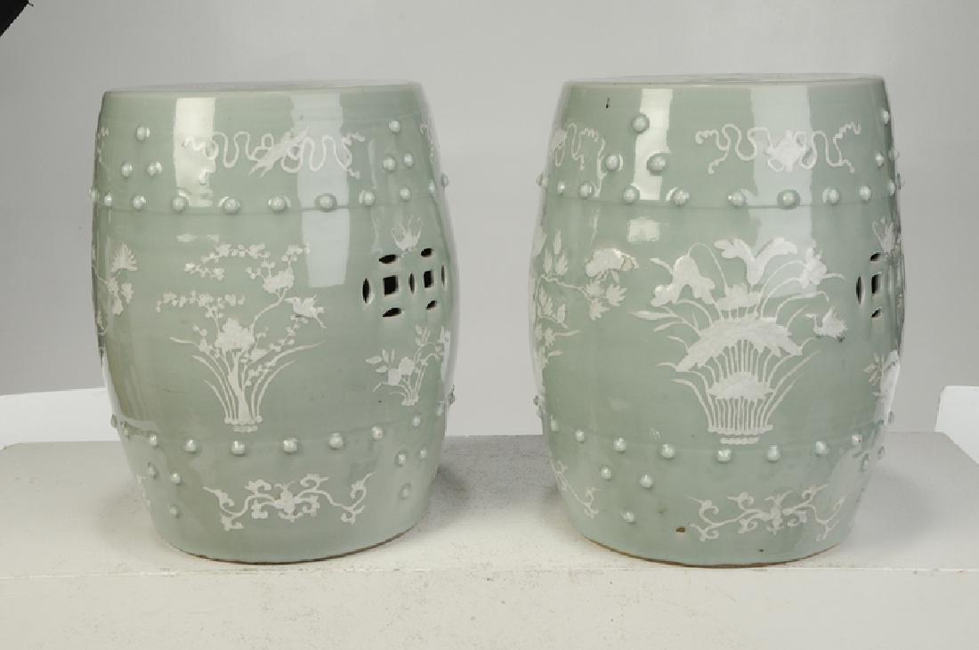 Pair Chinese Celadon Porcelain Garden Seats - 3