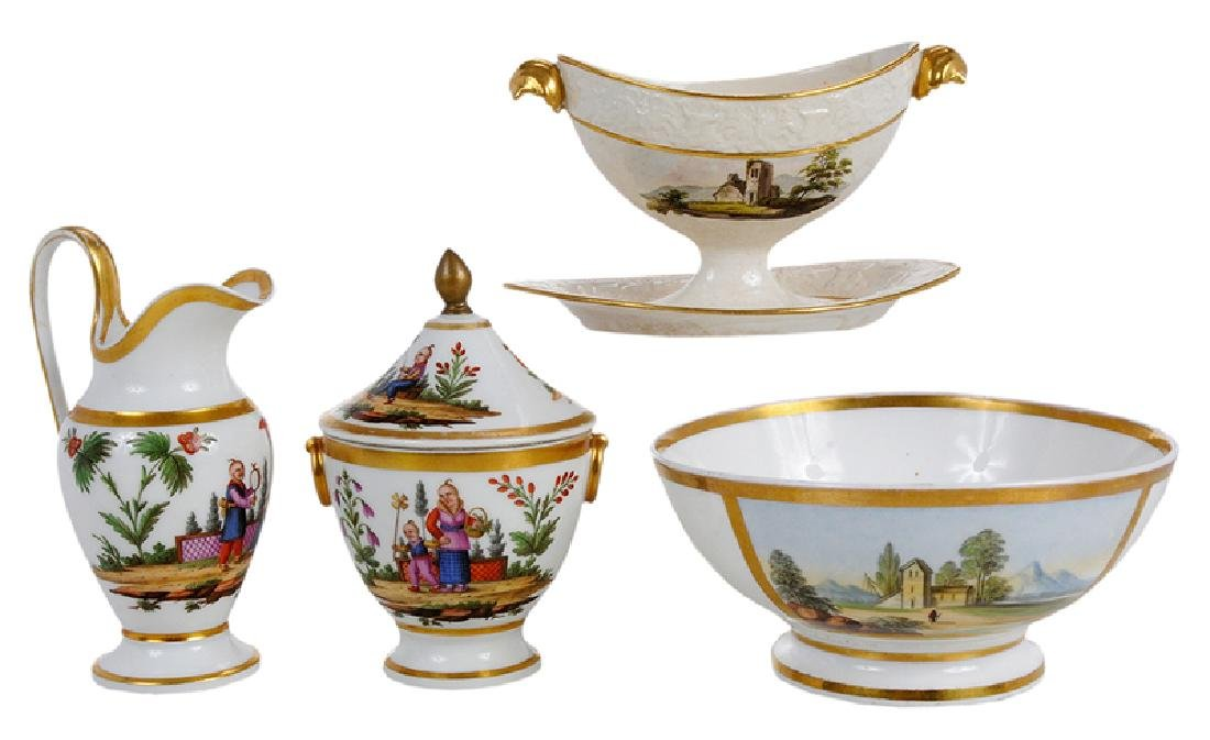 Four Scenic Decorated Porcelain Table Objects