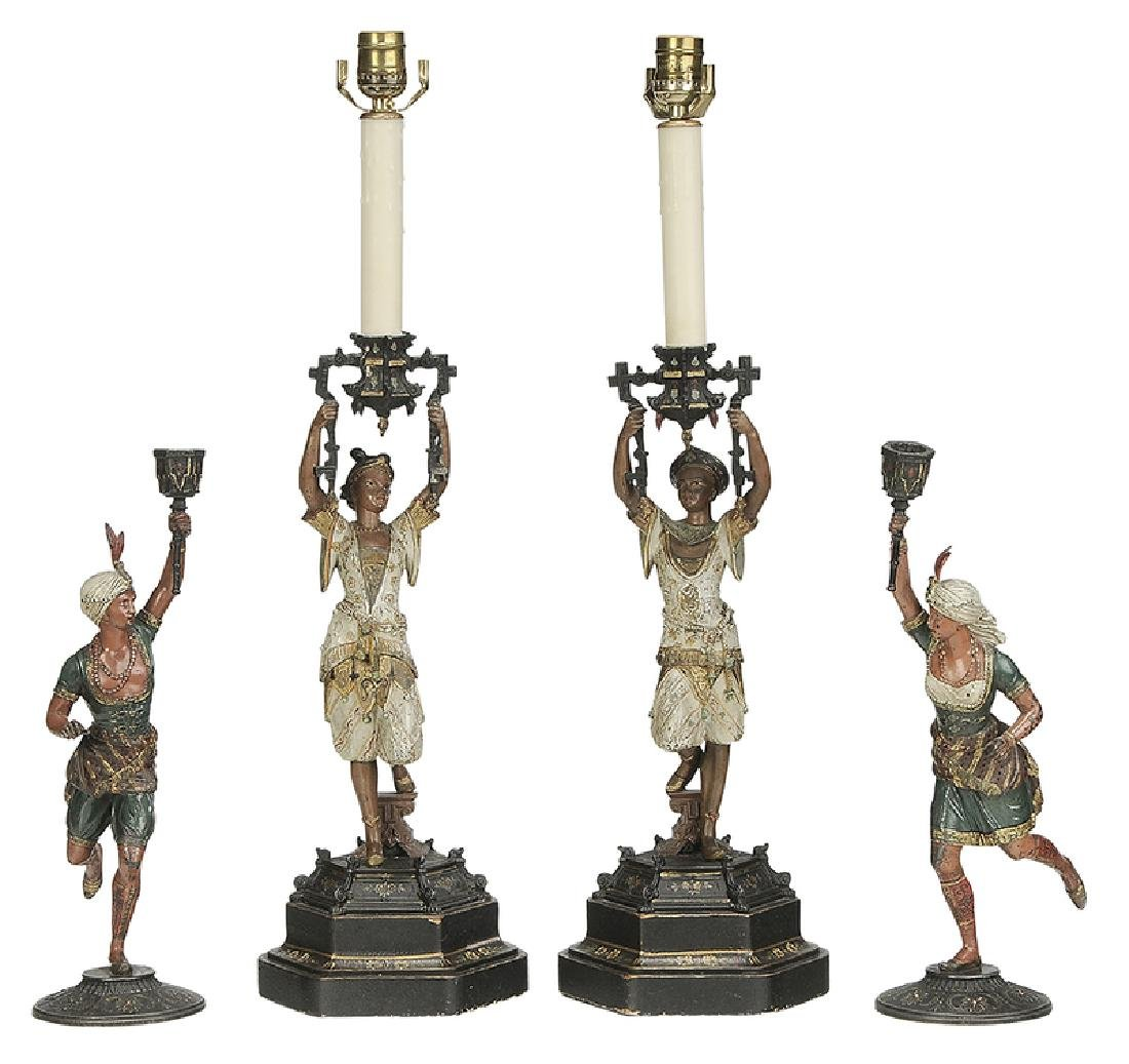 Four Orientalist Cold Painted Candlesticks