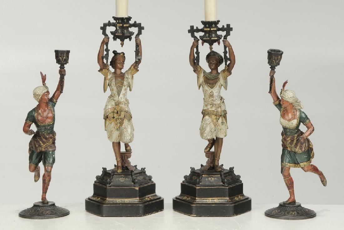 Four Orientalist Cold Painted Candlesticks - 2