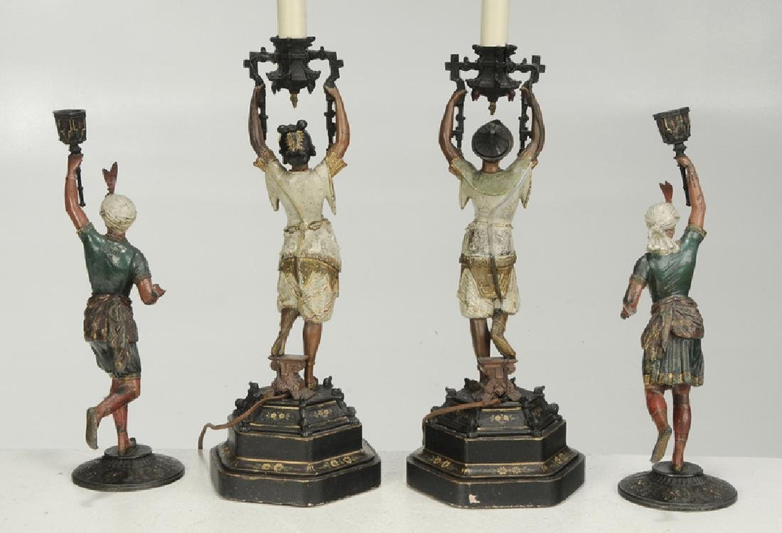 Four Orientalist Cold Painted Candlesticks - 3