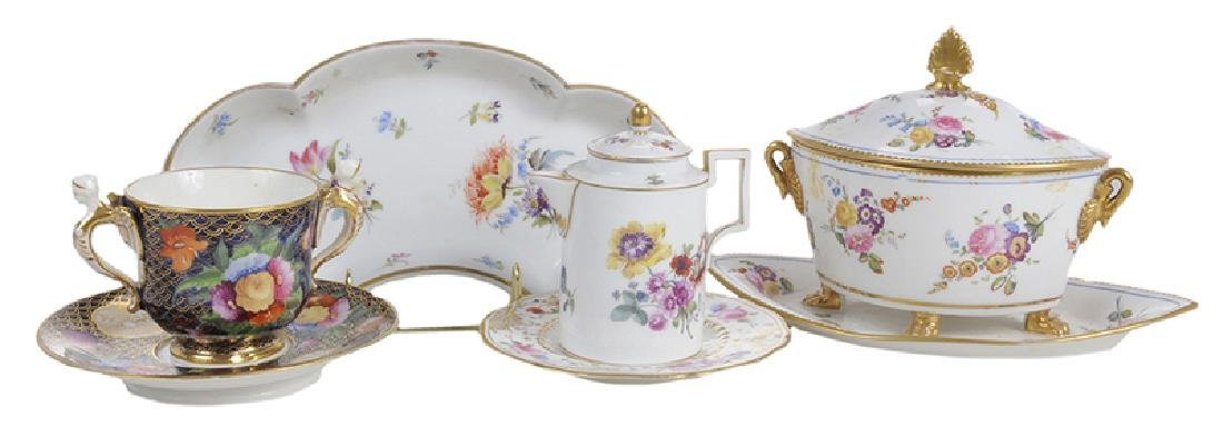 Five Pieces of Porcelain with Floral Decoration