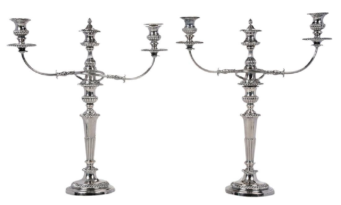 Pair Silver-Plated Two Arm Candelabra