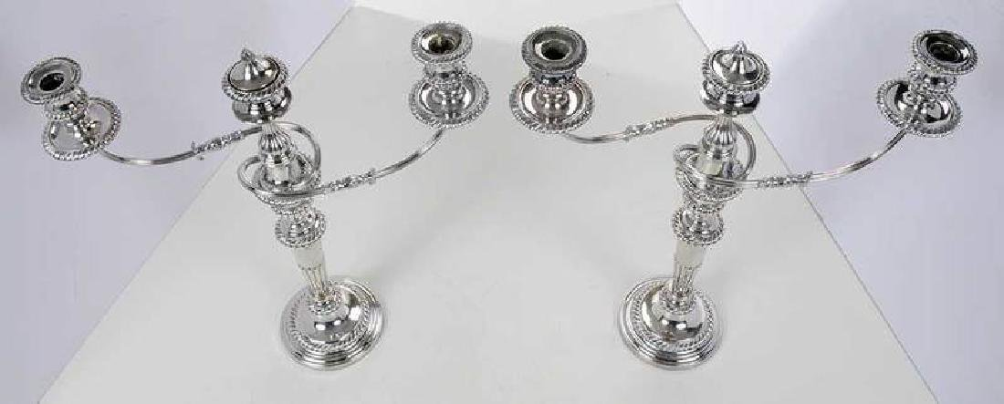Pair Silver-Plated Two Arm Candelabra - 6