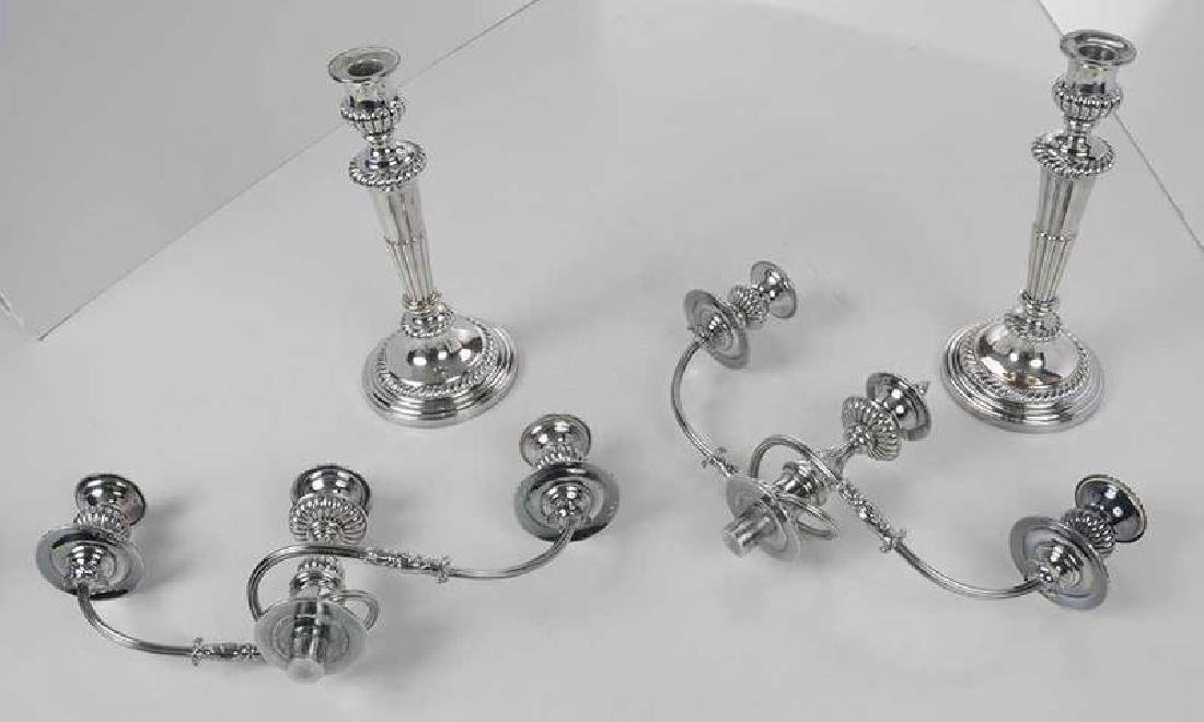 Pair Silver-Plated Two Arm Candelabra - 9