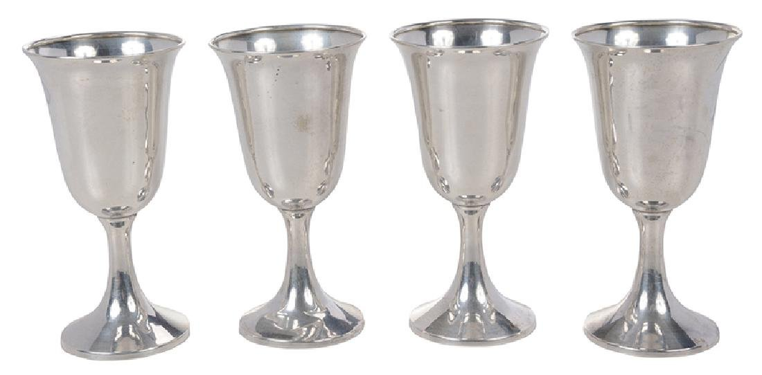 Set of Eight Sterling Goblets