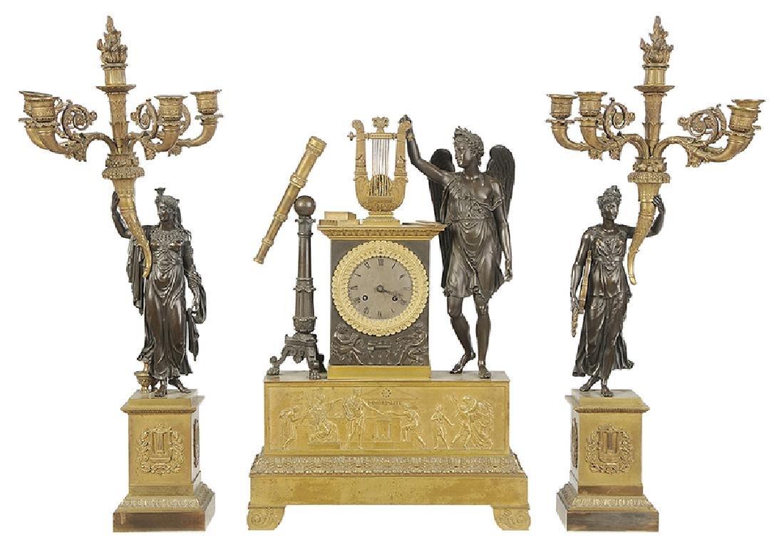 Empire Gilt Bronze Clock Garniture Set
