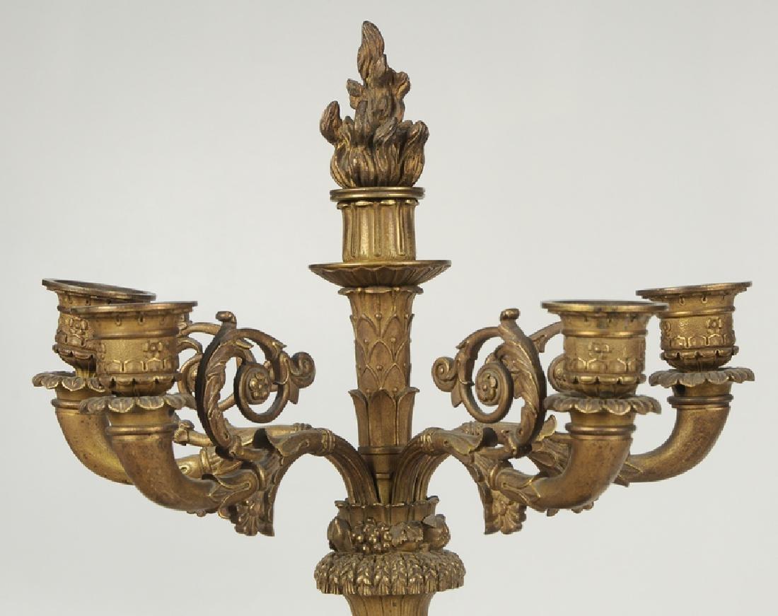 Empire Gilt Bronze Clock Garniture Set - 4