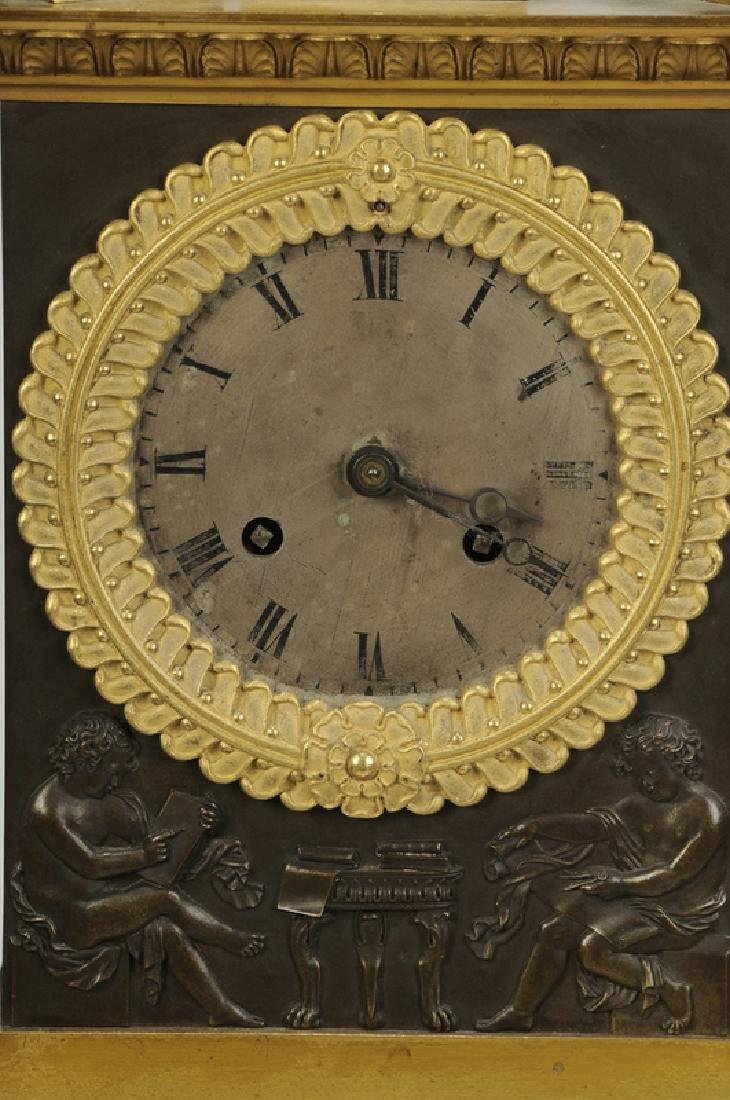Empire Gilt Bronze Clock Garniture Set - 9