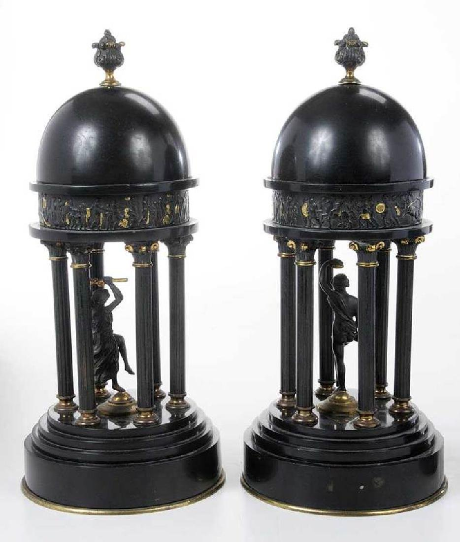 Two Pair Grand Tour Bronze And Marble Garnitures - 6