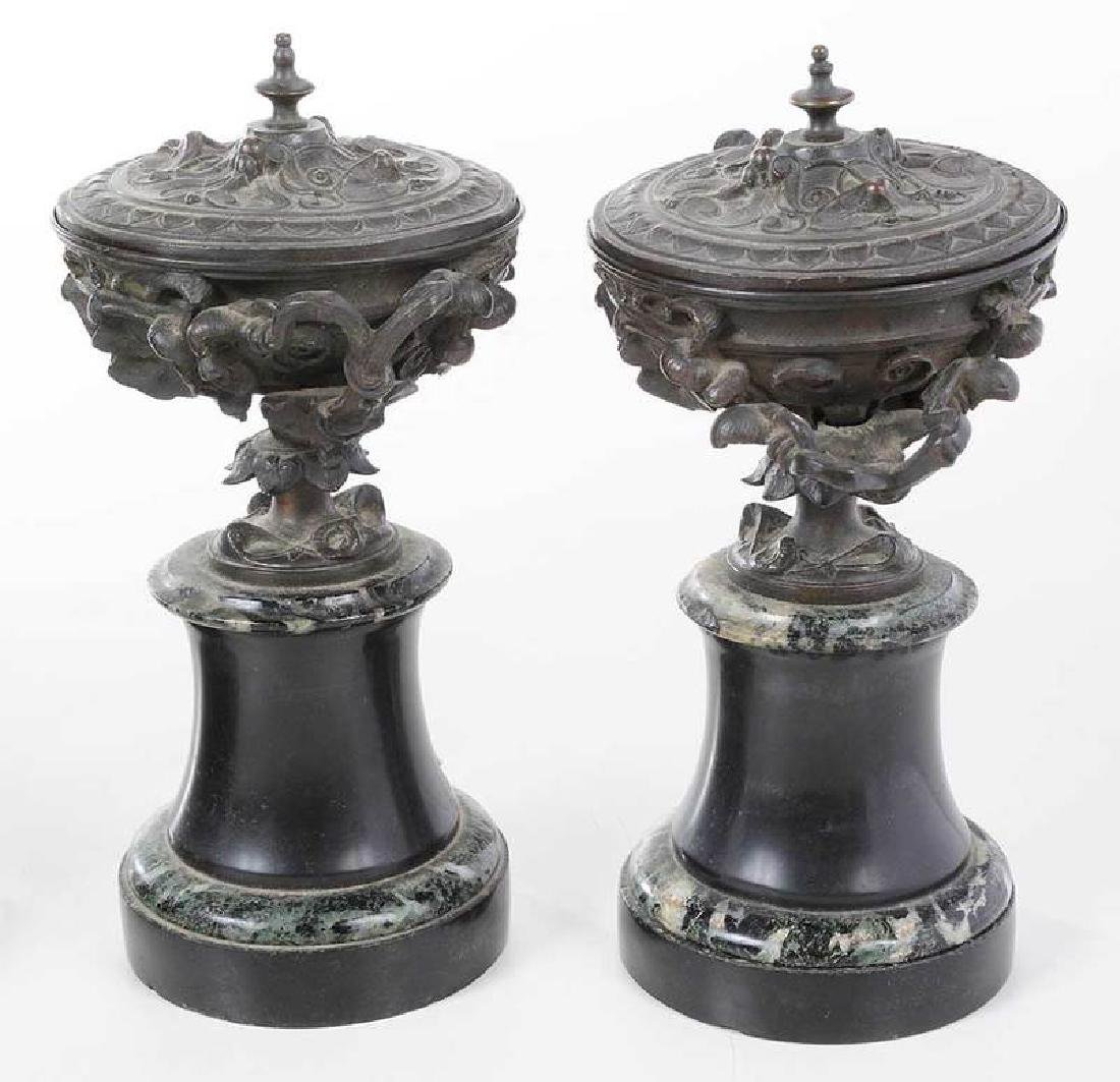 Two Pair Grand Tour Bronze And Marble Garnitures - 8