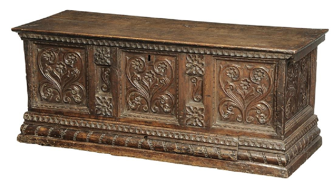Baroque Carved Walnut Lift Top Coffer