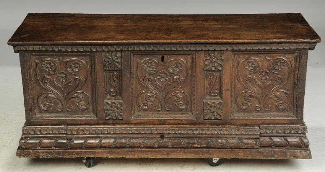 Baroque Carved Walnut Lift Top Coffer - 3