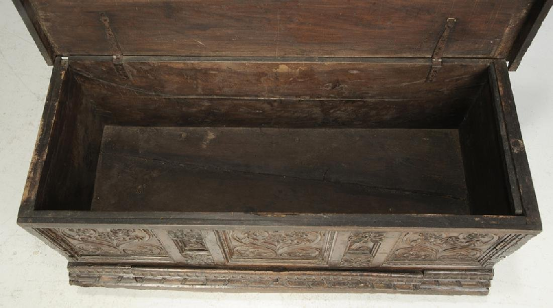 Baroque Carved Walnut Lift Top Coffer - 5