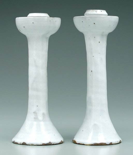 1: Two Jugtown candlesticks: