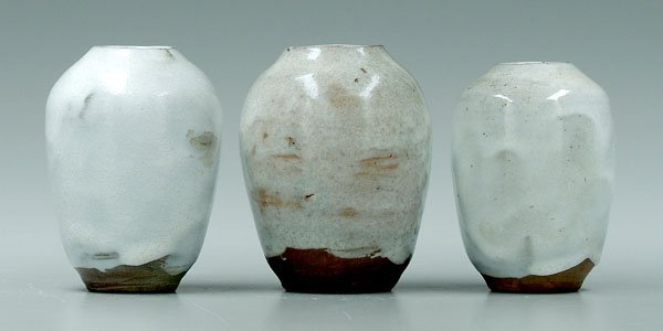 8: Three Jugtown egg vases: