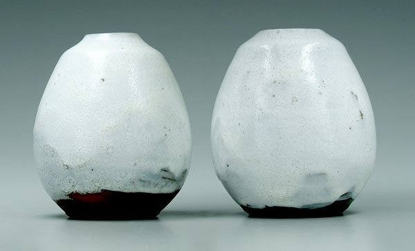 14: Two Jugtown egg vases: