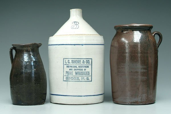 16: Three pieces Southern pottery: