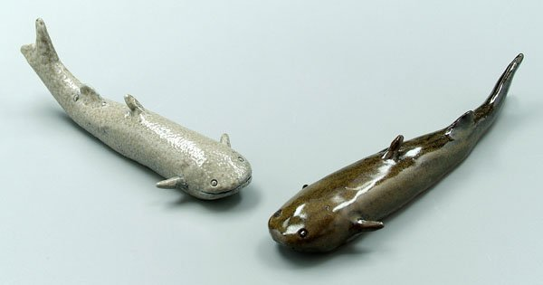 20: Two Charles Moore pottery catfish: