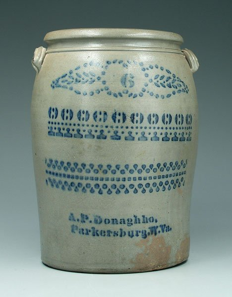 22: Salt-glazed stoneware crock,