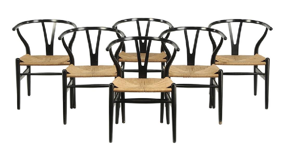 "Set of six Hans Wegner ""Wishbone"" Dining Chairs"