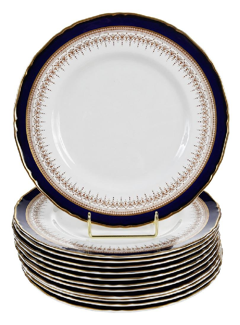 12 Royal Worcester Cobalt and Gold Plates