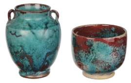 Two Pieces of Chinese Blue Jugtown Pottery