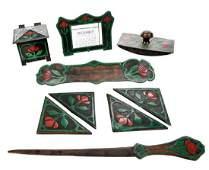 Eight Piece Copper Arts  Crafts Desk Set