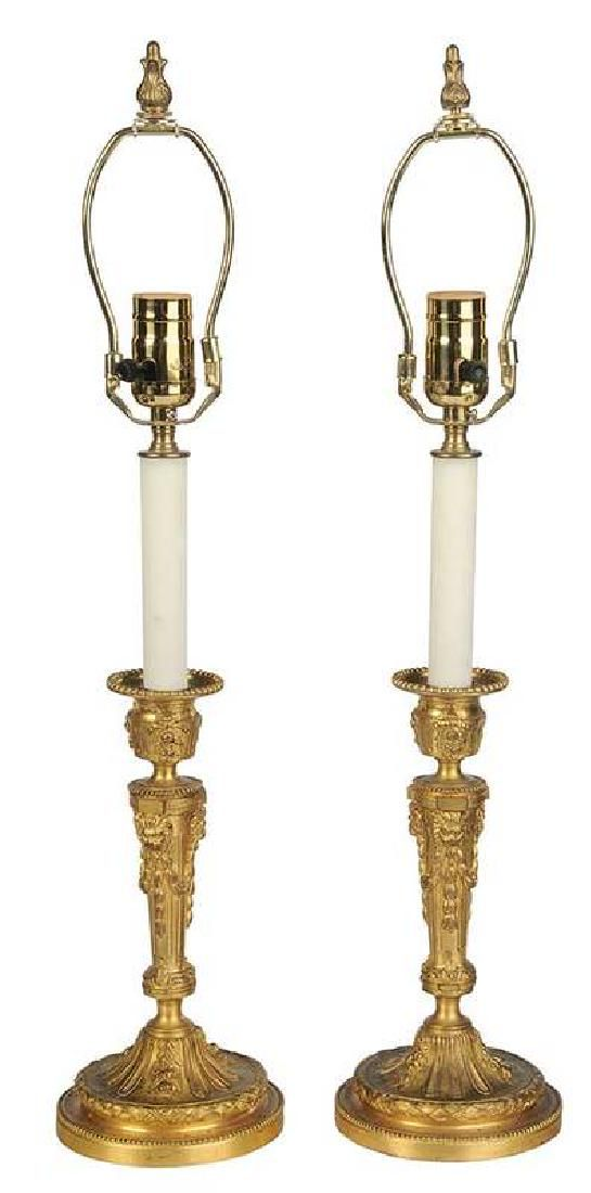 Pair Louis XVI Style Gilt Bronze Candlesticks