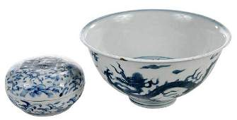 Two Ming Style Porcelain Objects