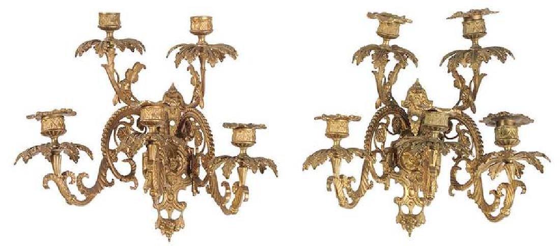 Pair Gilt Bronze Five Light Wall Sconces