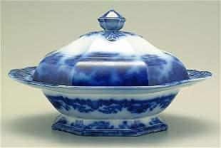 4: Flow blue lidded Scinde tureen,