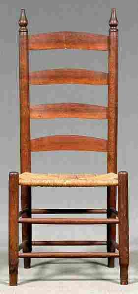 6: Walnut ladder back chair,