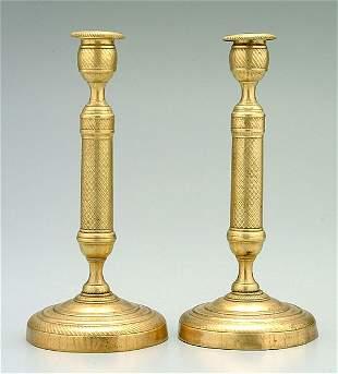 11: Pair French brass candlesticks:
