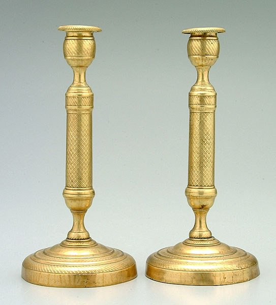 11: Pair French brass candlesticks: