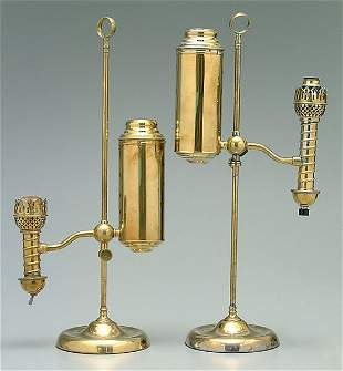 0015B: Two brass student lamps: