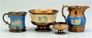 16: Four pieces lusterware:
