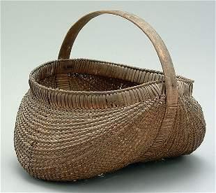20: Finely woven oak split egg basket,