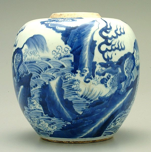 21: Chinese blue and white porcelain jar,