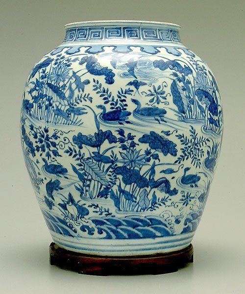 292: Chinese blue and white jar,