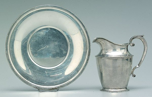 702: Sterling silver water pitcher, tray: