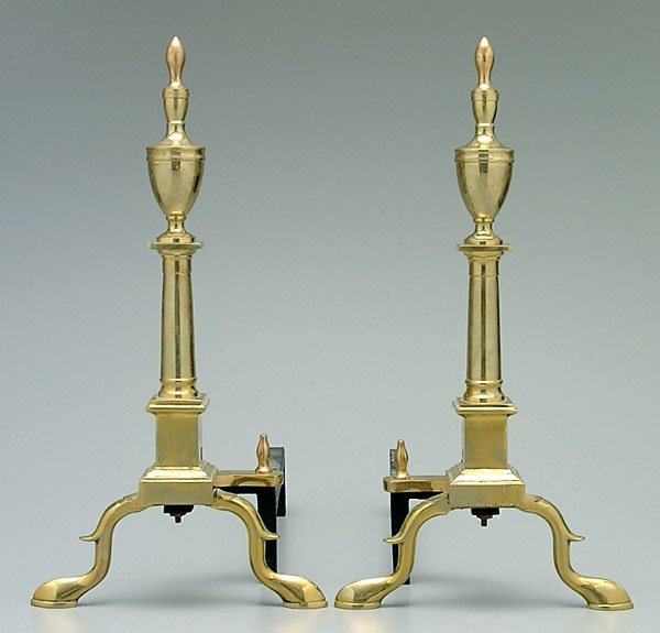 704: Pair Federal style andirons,