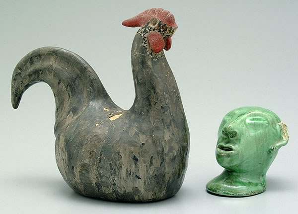 710: Pottery head and rooster: