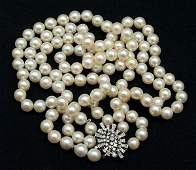 1044: Pearl and diamond necklace,