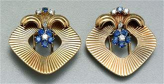1047: Pair diamond and sapphire brooches: