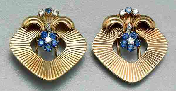 Pair diamond and sapphire brooches
